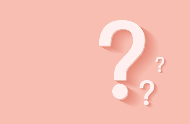 Question mark icon on pink background faq sign space for text