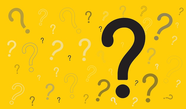Question mark icon on yellow background faq sign help symbol