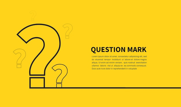 Question mark icon on yellow background faq sign space for text design elements