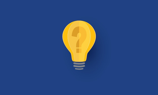 Question mark inside lightbulb problem solving concept inspiration business