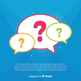 Question mark inside speech bubble flat background