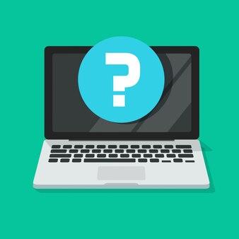 Question mark on laptop computer screen icon flat cartoon