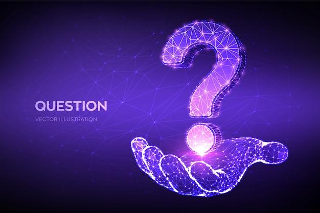 Вопросительный знак. низкий многоугольной абстрактный знак вопроса в руке. спросить символ. справочная поддержка, символ проблемы faq.
