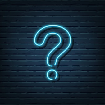 Question mark neon sign vector elements