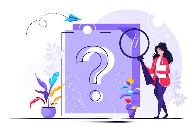 문서에 물음표. 비즈니스 여자 묻는 질문