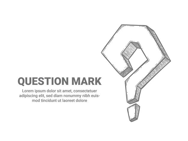 疑問符。質問記号をスケッチして、ヘルプサポートを依頼してください。よくある質問、検索問題、質問アイコン、テキストベクトルの背景の場所。バナーイラストの手描き句読点要素