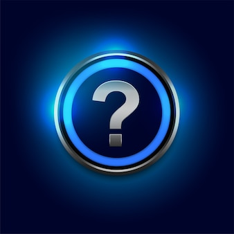 Question mark symbol with blue lights background