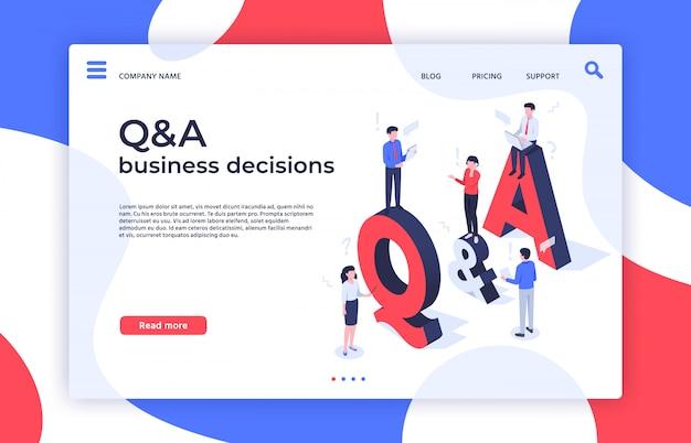 質問と答え。決定、問題解決、qaビジネス決定のランディングページのアイソメ図を見つける