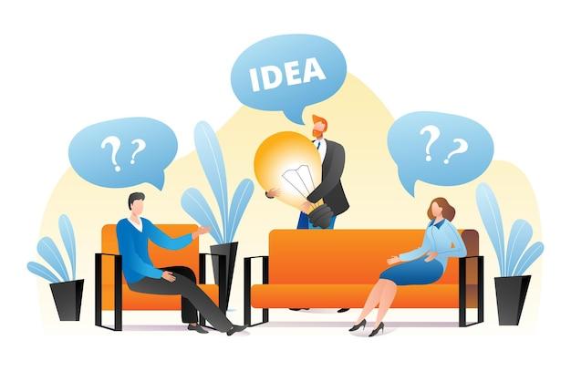 質問とビジネスアイデアの概念、ベクトルイラスト。男性女性の人々のキャラクターはコミュニケーションを持っています、労働者の人は大きなランプを持っています
