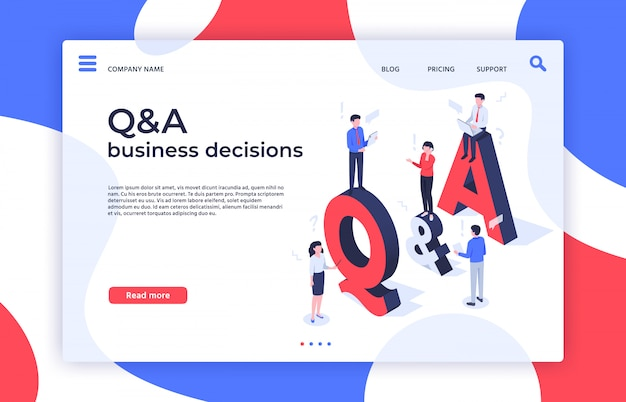 Questions and answers. find decision, problem solving and qa business decisions landing page isometric  illustration