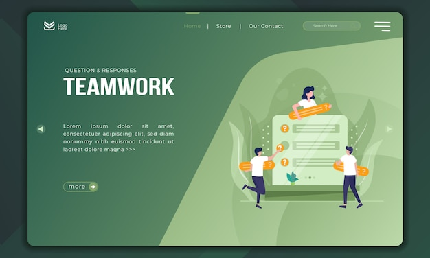 Questions and responses as teamwork on landing page template
