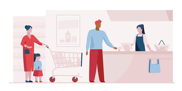 スーパーマーケットのランディングページテンプレートのチェックアウト時のキュー