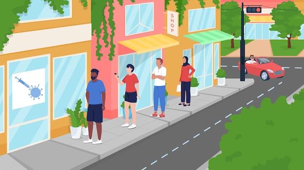 Covidワクチン接種センターのフラットカラーベクトルイラストでキューに入れます。人々にワクチンを提供する。免疫化を得る。背景に夏の街の通りと地元住民の2d漫画のキャラクター