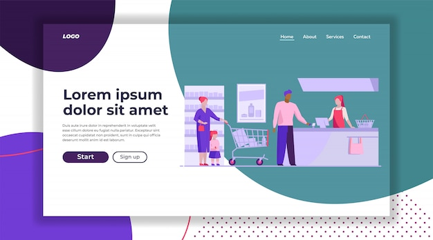 Queue at checkout in supermarket landing page template