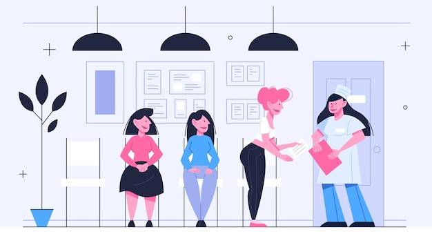 Queue to the doctor. people waiting in line in the hospital. idea of healthcare.   illustration