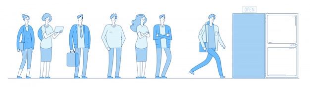Queue at door. adult people customers group in casual clothes standing in long line queue outside open door.  concept