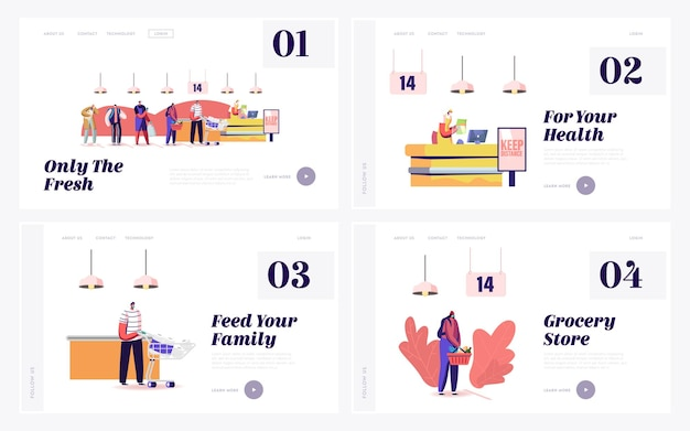 Queue in grocery landing page template set.