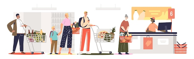 Очередь в супермаркете на стойке регистрации. люди в продуктовом магазине ждут, чтобы заплатить за еду в кассе
