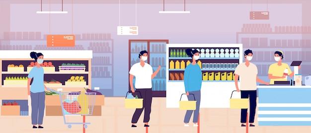 スーパーマーケットのレジ係のキュー。食料品店の顧客のカート。防護マスクをかぶった人々は距離を保ちます。パンデミックまたはグローバルなコロナウイルスの流行。待機中の買い物客
