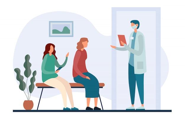 Очередь возле кабинета врача в современной клинике