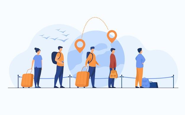 空港での出発を待って、荷物を持って立っている移民の列。地球儀、地図ポインター、目的地の線を背景にした観光客のグループ。旅行や移民の概念のために