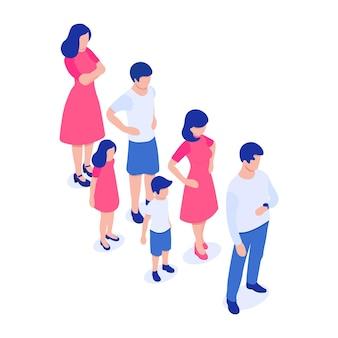 さまざまな性別と年齢の人々の列大人の子供と青年の男性と女性