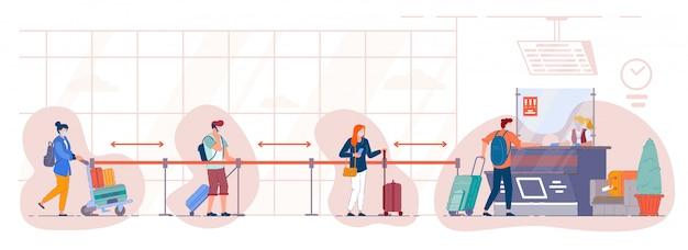 Очередь туристов у стойки регистрации вылета в аэропорту. люди в медицинских масках стоят в очереди для сдачи багажа в терминале и поддерживают социальную дистанцию. путешествуйте во время пандемии.