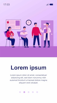 Queue of patient sitting at therapist office in clinic. people visiting medical practitioner for examination in hospital.  illustration for doctor, healthcare, medicine, health concept