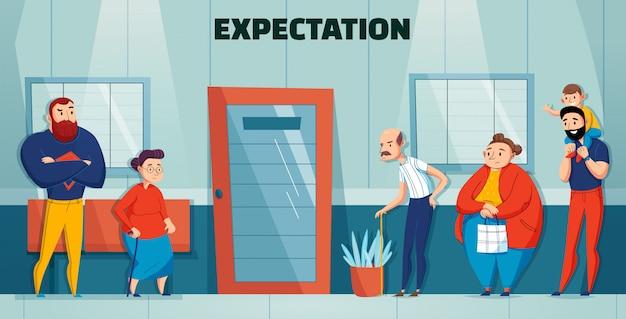 Состав врача больницы людей очереди с заголовком ожидания и различным возрастом и потребностями людей, ждущих в очереди