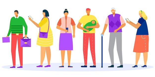 Очередь людей в линии векторные иллюстрации мужчина женщина характер стоять терпеливо изолированные на белой группе ...