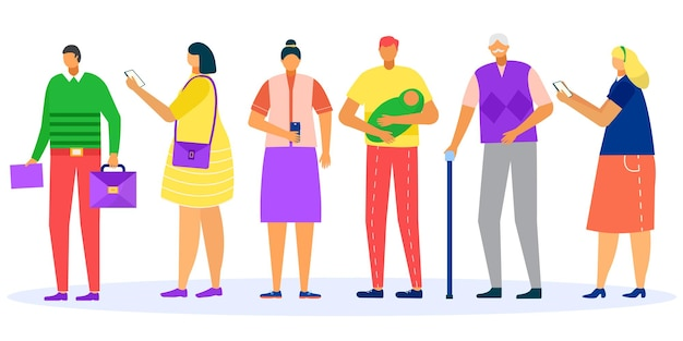 Queue people in line vector illustration man woman character stand patiently isolated on white group...