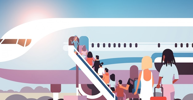 Queue of people travelers with luggage going to plane mix race rear view passengers climb the ladder to board aircraft boarding travel concept flat horizontal vector illustration