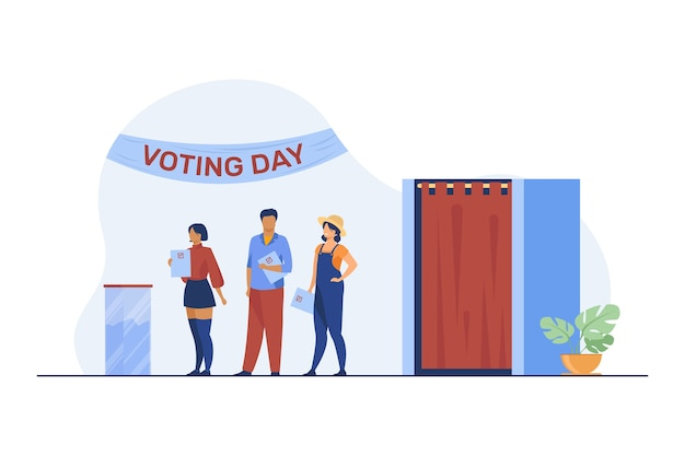 Queue of people with paper at ballot boxes. voting day, electorate, poll flat vector illustration. election campaign, politics, choice