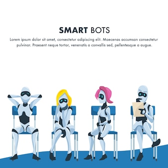 Queue of smart robot sit wait for job interview