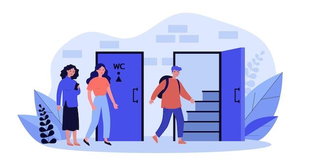 男性用と女性用のトイレに列を作ってください。フラットベクトルイラスト。男性が公衆トイレに入る間、ドアで待っている女性。バナーデザインまたはランディングページの衛生、ニーズ、性別の概念