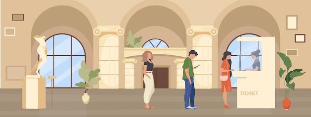 박물관 티켓 부스 평면 색상에 대한 대기열. 사람들은 전시 패스를 사기 위해 홀 내부를 기다립니다. 갤러리 입장. 배경에 인테리어와 관광 2d 만화 캐릭터