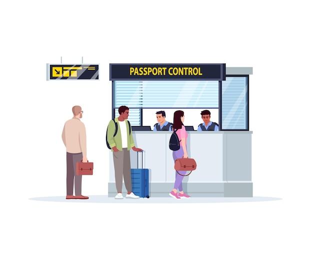 여권 제어 반 평면 rgb 색상 벡터 일러스트 레이 션 대기열. 공항 터미널에 있는 등록 데스크. 카운터를 제어합니다. 관광객 흰색 배경에 고립 된 만화 캐릭터 체크인을 기다립니다