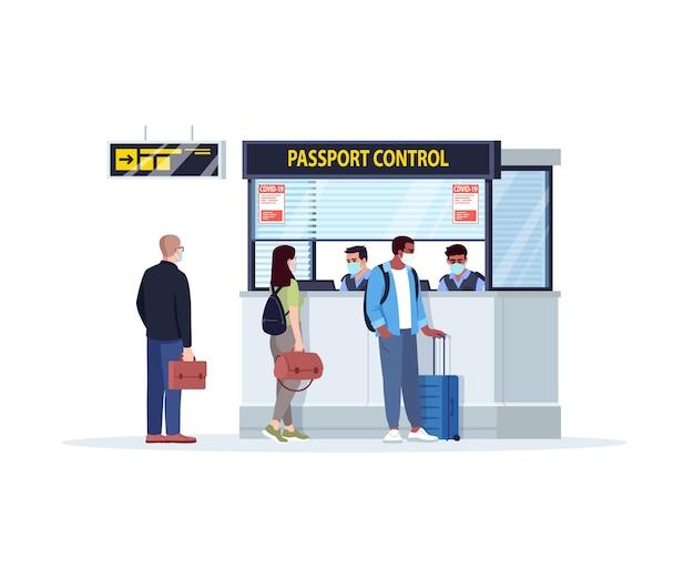 パスポートコントロールセミフラットrgbカラーベクトルイラストへのキュー。ウイルス発生時の空港ターミナルへの登録。コントロールカウンター。白い背景の上の孤立した漫画のキャラクターをチェックイン