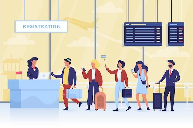 空港でのチェックインの待ち行列。荷物を持つ人々