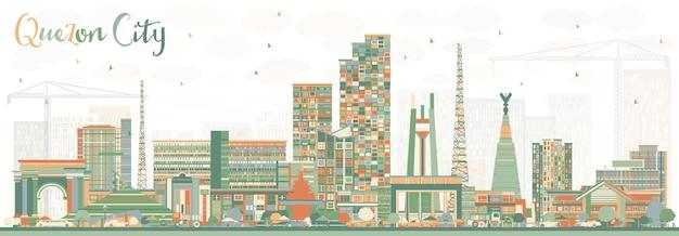 色の建物とケソンシティフィリピンのスカイライン。ベクトルイラスト。近代建築と出張と観光のイラスト。