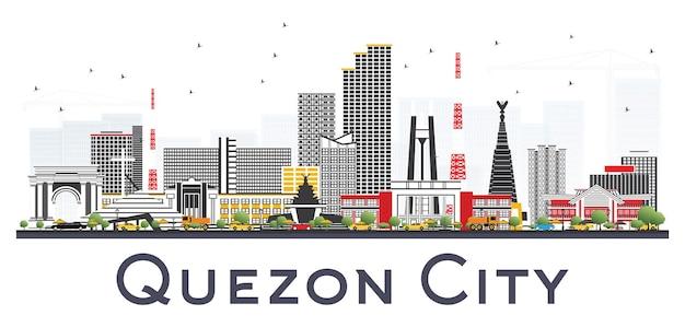 白い背景で隔離の灰色の建物とケソンシティフィリピンのスカイライン。ベクトルイラスト。近代建築と出張と観光のイラスト。