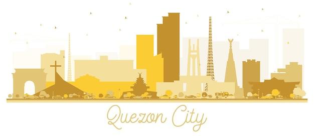 ケソンシティのスカイラインゴールデンシルエット。ベクトルイラスト。観光プレゼンテーション、バナー、プラカードまたはwebサイトのシンプルなフラットコンセプト。ランドマークのあるケソンの街並み。