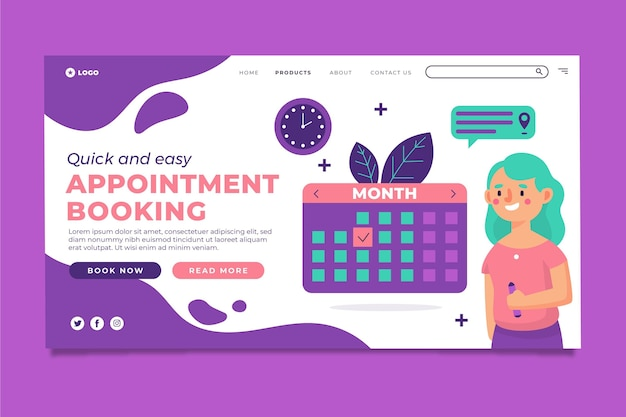 Quick and easy appointment booking landing page