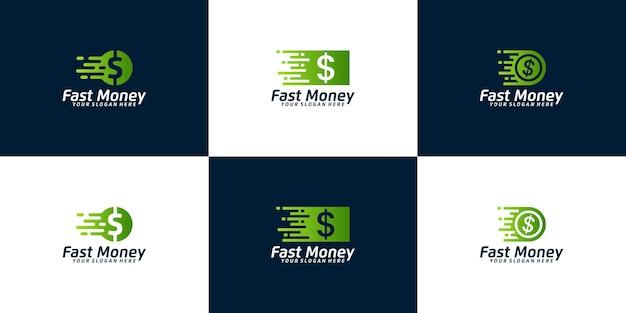 빠른 금융 로고 영감 세트 현금과 동전