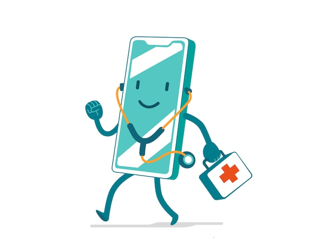 Quick medical assistance. cute cartoon character with stethoscope and first aid bag for mobile application