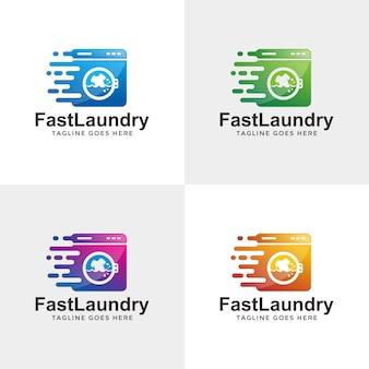 빠른 현대 세탁 로고 디자인