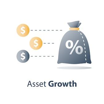 クイックマネー、ファストキャッシュローン、投資ファンド、予算計画、金利、株式市場、ブローカーサービス、収益の増加、資本の成長、ウェルスマネジメント Premiumベクター