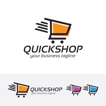 Quick shopping vector logo template