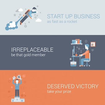 Quick start up business, work hard outsourcing, win icons set.