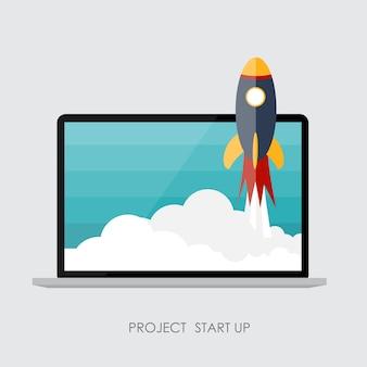 Quick start up flat concept vector illustration. eps10
